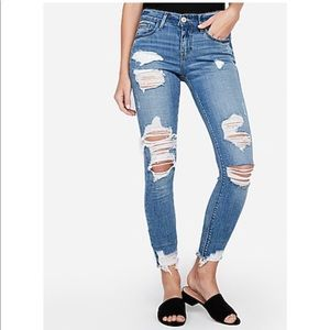 Express ripped ankle jeans medium wash mid rise